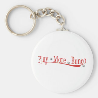 Play More Bunco Basic Round Button Key Ring