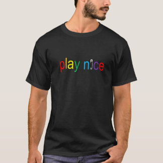 Play Nice rainbow safetypin T T-Shirt