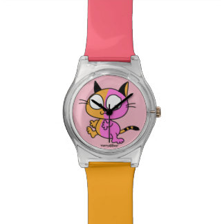 Play of cat of pink and orange watch