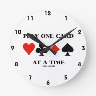 Play One Card At A Time (Four Card Suits) Wall Clocks