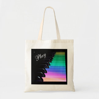 Play Piano Rainbow Music Tote Bag