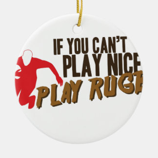 Play Rugby Round Ceramic Decoration