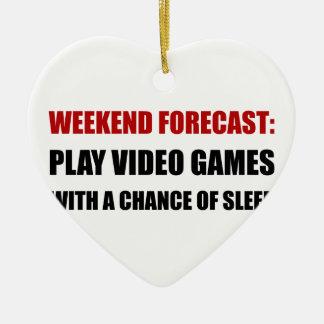 Play Video Games Sleep Ceramic Heart Decoration