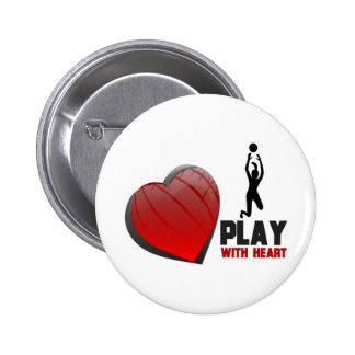 PLAY WITH HEART VOLLEYBALL 6 CM ROUND BADGE
