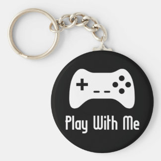 Play With Me Video Game (black) Basic Round Button Key Ring