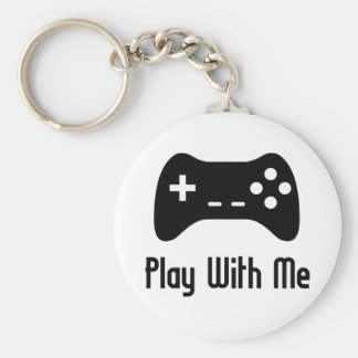 Play With Me Video Game Basic Round Button Key Ring