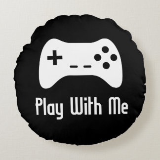 Play With Me Video Game Round Cushion
