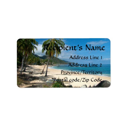 Playa Los Caballos Blue Address Label