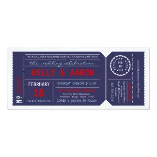 Playbill Ticket Wedding Invitation - Navy & Red