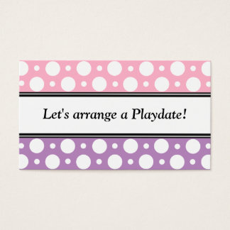 Playdate Pink Purple Polka Dots Business Cards