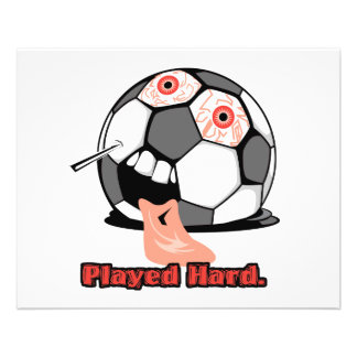 played hard funny deflated soccer ball sports full color flyer