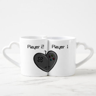 Player 1 & 2 Couple Gamer Heart Coffee Mug Set