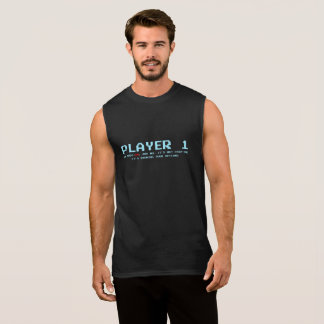 Player 1 Ultra Cotton Sleeveless T-Shirt, Black Sleeveless Shirt