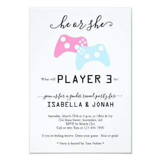 Player 3 Video Game Gender Reveal Party Invitation