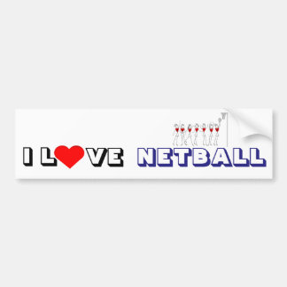 Player and Hearts I Love Netball Bumper Sticker