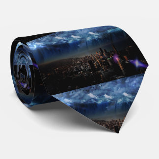 """PLAYER"" BLACK NECKTIE WITH SCENERY"
