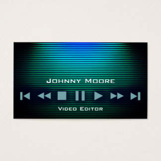 Player buttons metal shine stripes business card