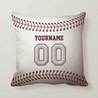 Player Number 00 - Cool Baseball Stitches Look Cushion