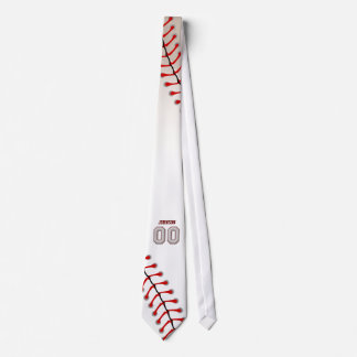 Player Number 00 - Cool Baseball Stitches Tie