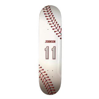 Player Number 11 - Cool Baseball Stitches Custom Skateboard