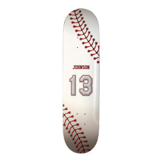 Player Number 13 - Cool Baseball Stitches Skateboard Deck
