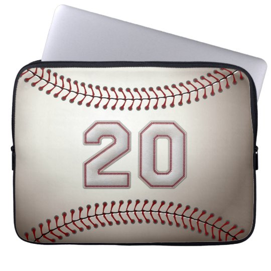 Player Number 20 - Cool Baseball Stitches Laptop Sleeve