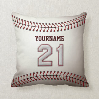 Player Number 21 - Cool Baseball Stitches Cushion