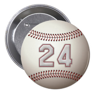 Player Number 24 - Cool Baseball Stitches Pins