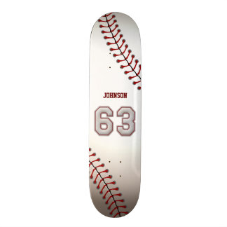 Player Number 63 - Cool Baseball Stitches Skate Board