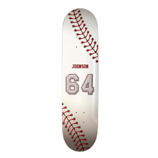 Player Number 64 - Cool Baseball Stitches Skate Board Deck