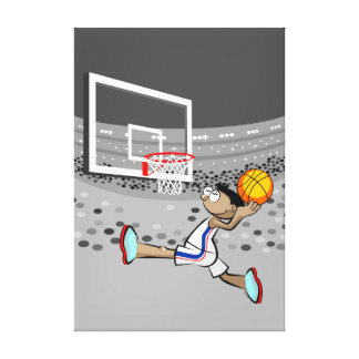 Player of basketball doing a goal canvas print