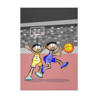 Player of basketball running with the ball canvas print