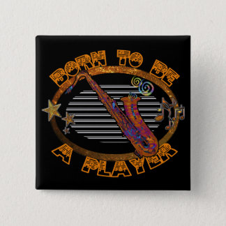 Player Saxophone ID281 15 Cm Square Badge