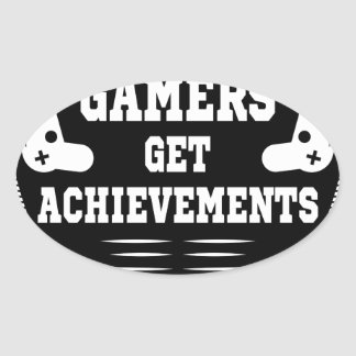 Players get chicks gamers get achivements oval sticker