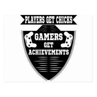 Players get chicks gamers get achivements postcard