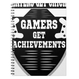 Players get chicks gamers get achivements spiral notebook