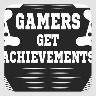 Players get chicks gamers get achivements square sticker