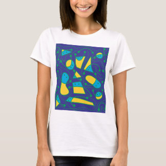 Playful abstract art - blue and yellow T-Shirt