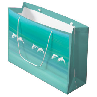 Playful and happy dolphins in aquamarine ocean large gift bag