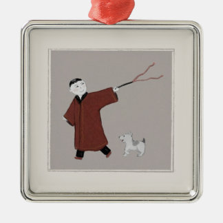 Playful Asian Boy and His Dog Ornament
