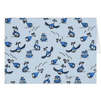 Playful Baby Owls on Blue Card