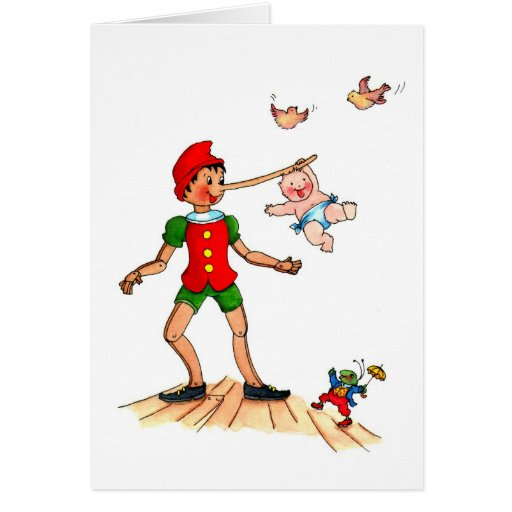 Playful Baby with Pinocchio - Birth Announcement Cards