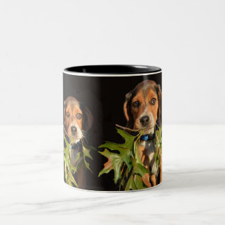 Playful Beagle Brothers Puppies Two-Tone Coffee Mug