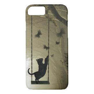 Playful black cat iPhone 7 case
