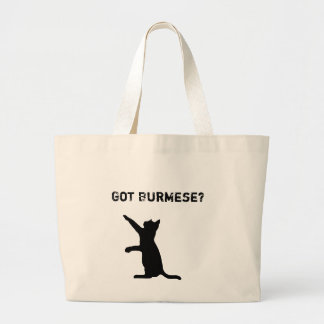 Playful Burmese Cat with 'Got Burmese?' Text Large Tote Bag