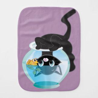 Playful Cartoon Cat and Fish Bowl Baby Burp Cloth