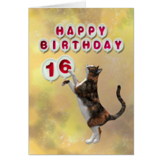Playful cat and 16th Happy Birthday balloons Card