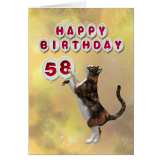 Playful cat and 58th Happy Birthday balloons Card