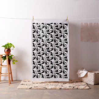 Playful Cats and Yarn Silhouettes Fabric