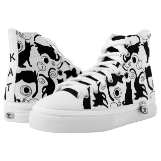 Playful Cats and Yarn Silhouettes High Tops